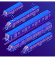 3d isometric violet tram trolley subway vector image