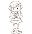 A plain sketch of a girl holding a christmas gift vector image vector image
