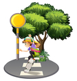A young girl playing with her skateboard at the vector image vector image
