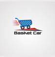 basket car logo icon element and template vector image vector image