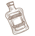 bottle with emblem and liquid inside monochrome vector image vector image