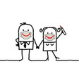 cartoon happy couple wearing hand-made protection vector image