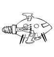 cartoon image of lightbulb rocket ship vector image vector image