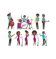 cartoon jazz artists characters singing and vector image vector image