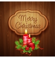 Christmas decoration on the wooden background vector image vector image