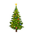 christmas tree decorated with colorful balls vector image vector image
