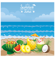 Coconut Pineapple Watermelon Cocktail on Beach vector image vector image