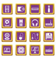computer icons set purple vector image vector image