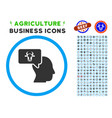 cow thinking person rounded icon with set vector image vector image