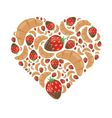 croissant and strawberry in chocolate in heart vector image vector image