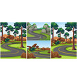 different scenes with roads in the park vector image vector image