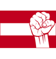 flag austria with fist vector image vector image