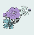 floral bush retro on white background hand drawn vector image