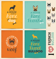 French Bulldog Typographic Background Set vector image vector image