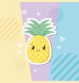 fresh pineapple fruit kawaii character vector image vector image