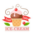 fresh tasty ice-cream icon logo icecream in cone vector image