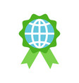 globe or planet earth icon on green badge flat vector image vector image