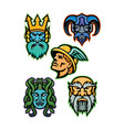 greek mythology gods mascot collection vector image