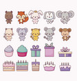 group of cute animals and set icons vector image vector image
