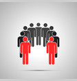 group people silhouette with two leaders vector image