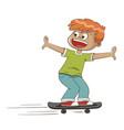 happy boy skating vector image vector image