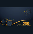 happy new year 2019 luxury gold and dark blue vector image vector image