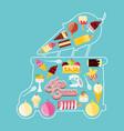 ice cream shop van with lights vector image vector image
