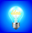 Idea concept with light bulb on blue background vector image