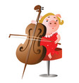 inspired pig playing cello vector image