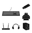 isolated object of laptop and device sign set of vector image vector image