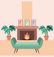 living room interior a sofa houseplants and vector image