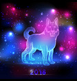 magic dog with 2018 new year inscription on the vector image