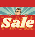 man with a sales banner vector image vector image
