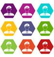 modern army soldier icon set color hexahedron vector image vector image