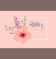 Mothers day pink watercolor flower card template