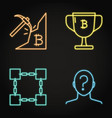 neon bitcoin icon set in line style vector image vector image