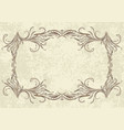 old frame on aged paper retro vintage greeting vector image