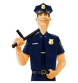 policeman with truncheon vector image vector image