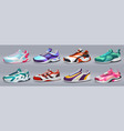 realistic sneakers various shoes for training and vector image vector image