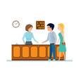 receptionist serves clients gives keys to room vector image