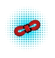 Red rope and carabiners icon in comics style vector image vector image