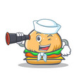 sailor burger character fast food with binocular vector image vector image