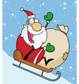 Santa Waving And Sledding With His Toy Sack vector image vector image