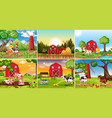 set of farmland scene vector image