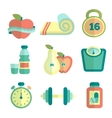Set of fitness flat icons vector image vector image