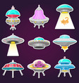 set ufo stickers alien spaceships vector image vector image