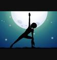 silhouette woman doing yoga vector image vector image