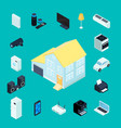 smart home isometric decorative icons vector image vector image