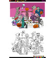 spooky halloween cartoon characters coloring book vector image vector image