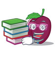 student with book plum mascot cartoon style vector image